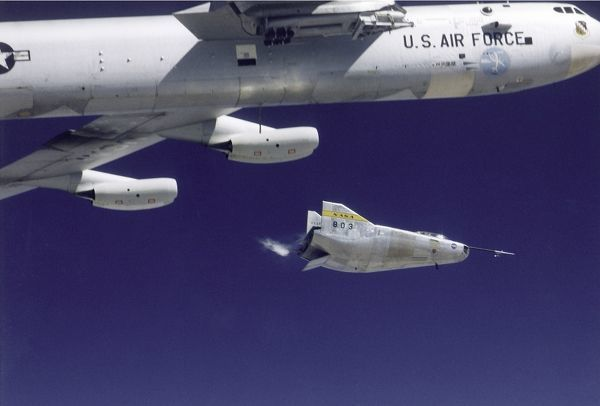 This photo shows the M2-F3 lifting body being launched from NASA's B- 52 mothership at the NASA Flight Research Center (FRC--now the Dryden Flight Research Center), Edwards, California