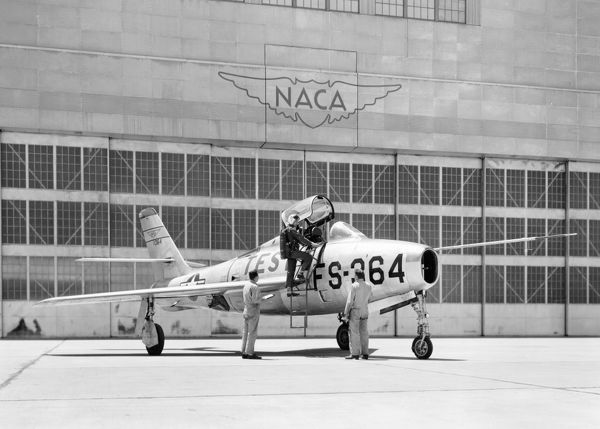 The Republic F84F Thunderjet fighter-bomber used by the United States Air Force was one of several high speed aircraft involved in flight research at the NACA Ames Aeronautical Laboratory (now, Ames Research Center) at Moffett Field, California