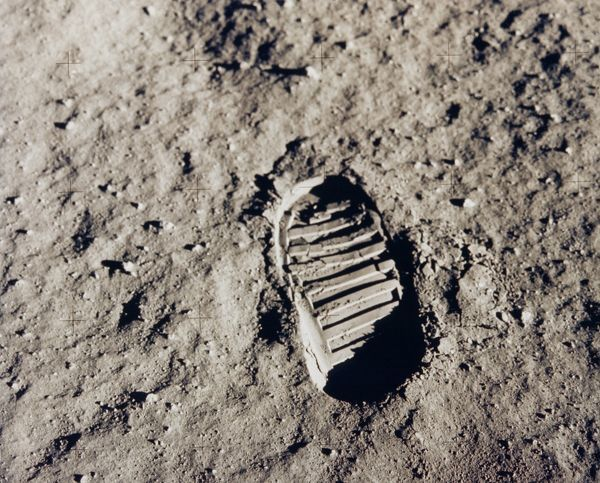 Apollo 11 bootprint. One of the first steps taken on the Moon