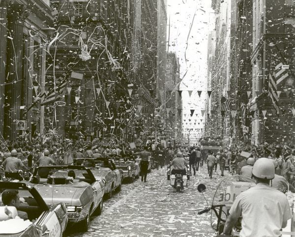 The City of Chicago welcomes the three Apollo 11 astronauts, Neil A. Armstrong, Michael Collins, and Buzz Aldrin, Jr