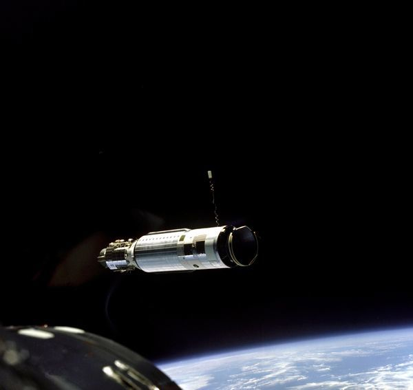 The Agena Target Vehicle as seen from the Gemini 8 spacecraft during rendezvous. This was the first time two spacecraft successfully docked, which was a critical milestone if a mission to the Moon was to become a reality