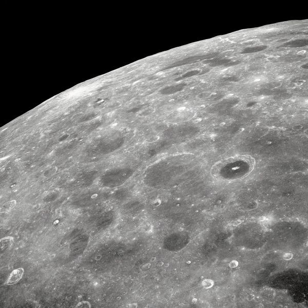 View of the lunar surface taken from the Apollo 8 spacecraft looking southward from high altitude across the Southern Sea