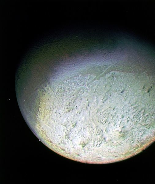 This color photo of Neptune's large satellite Triton was obtained on Aug