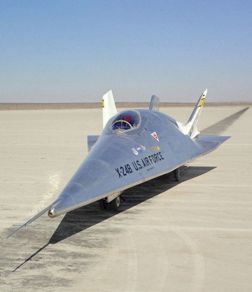 The X-24B is seen here on the lakebed at the NASA Dryden Flight Research Center, Edwards, California. The X-24B was the last aircraft to fly in Dryden's Lifting Body program. Lifting bodies were wingless vehicles designed to fly back to Earth from space